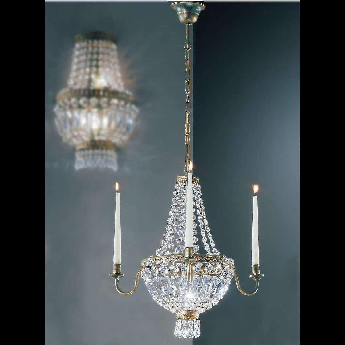 Kronleuchter Candela ● Metall/Glas ● Bronze/Kristall ● 3-flammig- Hans Kögl A+