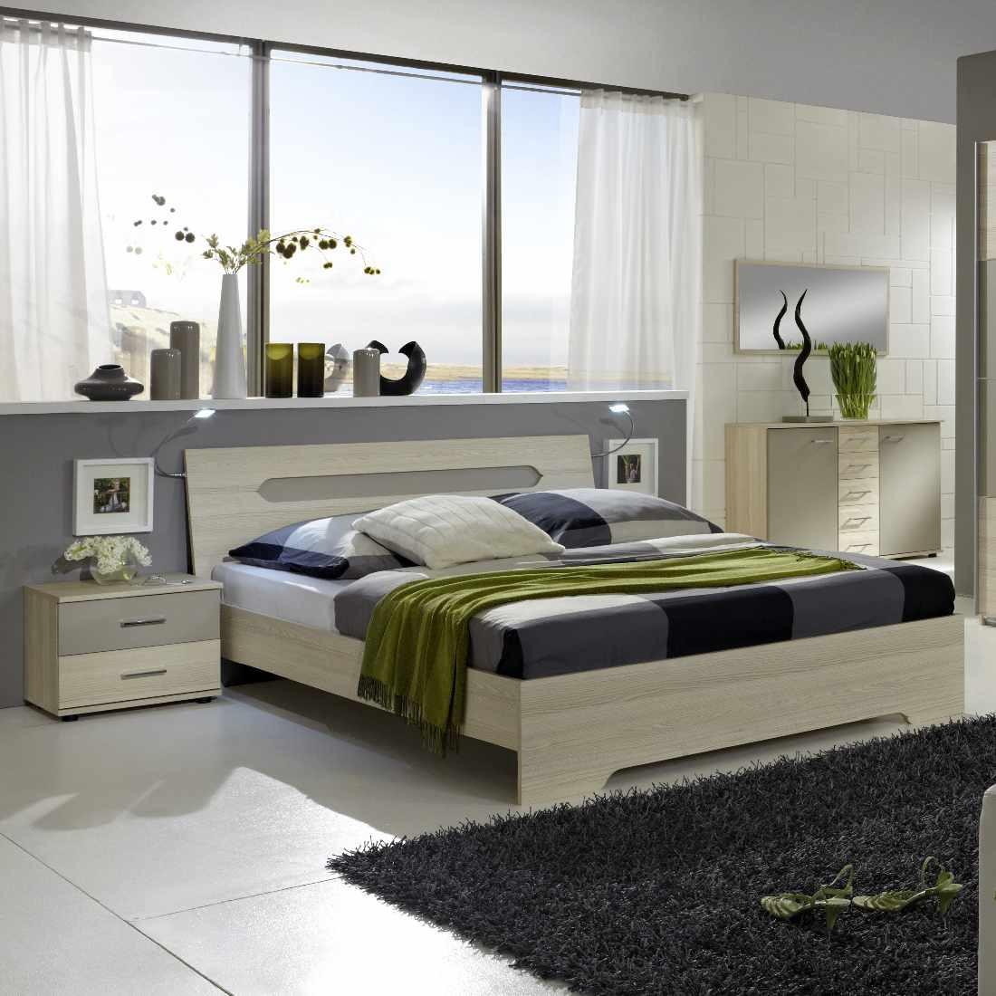 Bettkombination Bologna (3-teilig) – Strukturesche/Sandgrau – Bettbreite: 180 cm, 2 Nachtschrank, Wimex jetzt kaufen