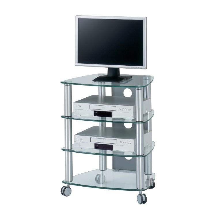 TV-Rack CU-SR 640 - Aluminium/Klarglas - 4 Böden, Jahnke