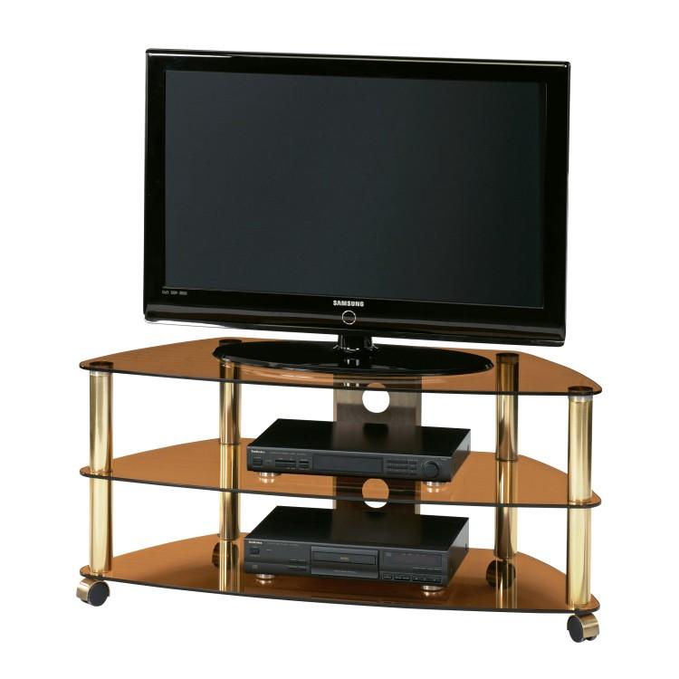 tv rack cu sr 1060 aus messing mit 3 b den aus. Black Bedroom Furniture Sets. Home Design Ideas