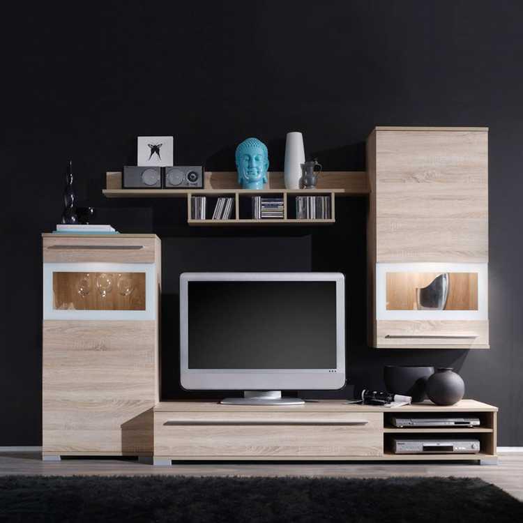 wohnwand jessica 4 teilig eiche sonoma dekor. Black Bedroom Furniture Sets. Home Design Ideas