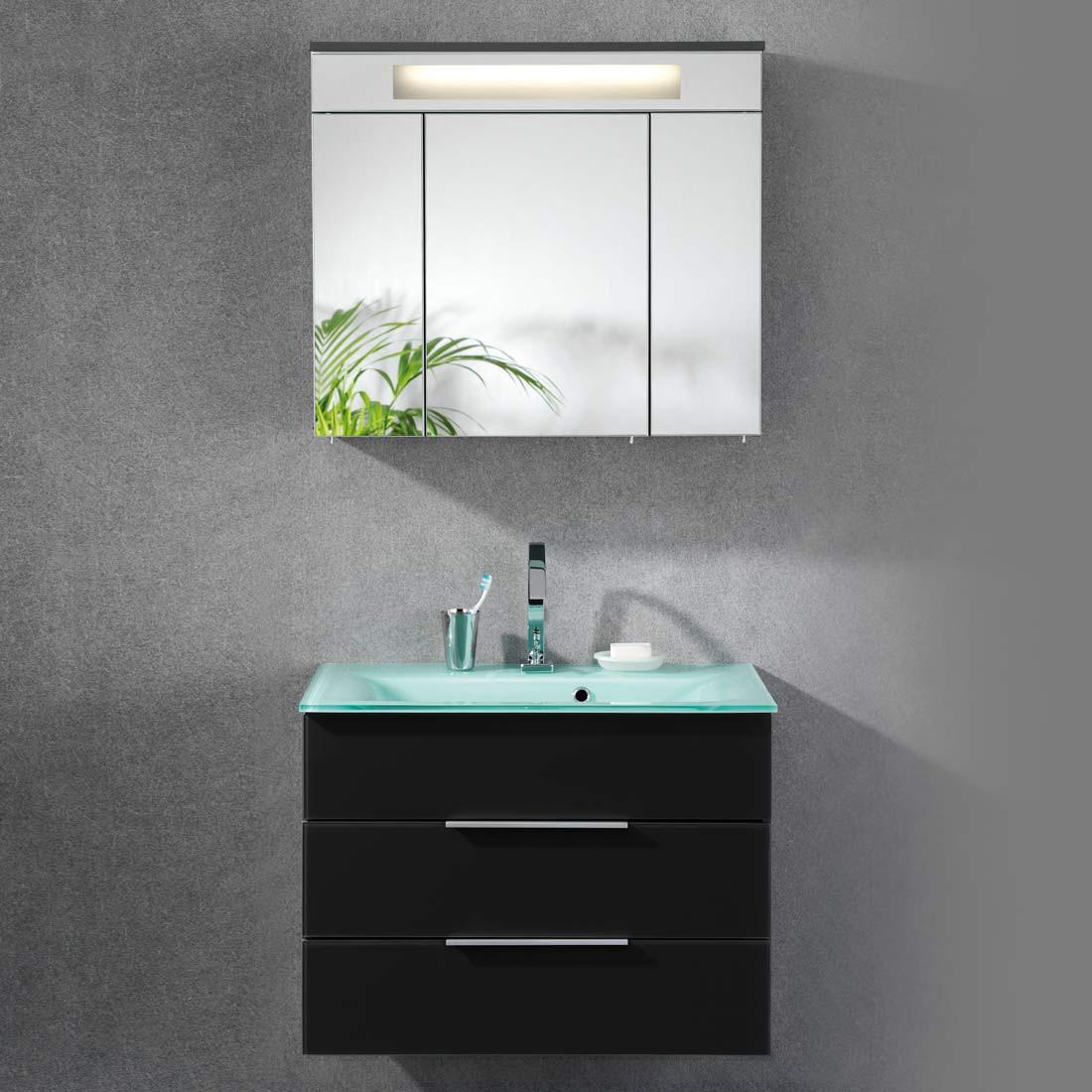 Badezimmerset Kara (2-teilig) – Anthrazit – Glasbecken, mintgrün – Mit 1 Schublade, Fackelmann günstig kaufen