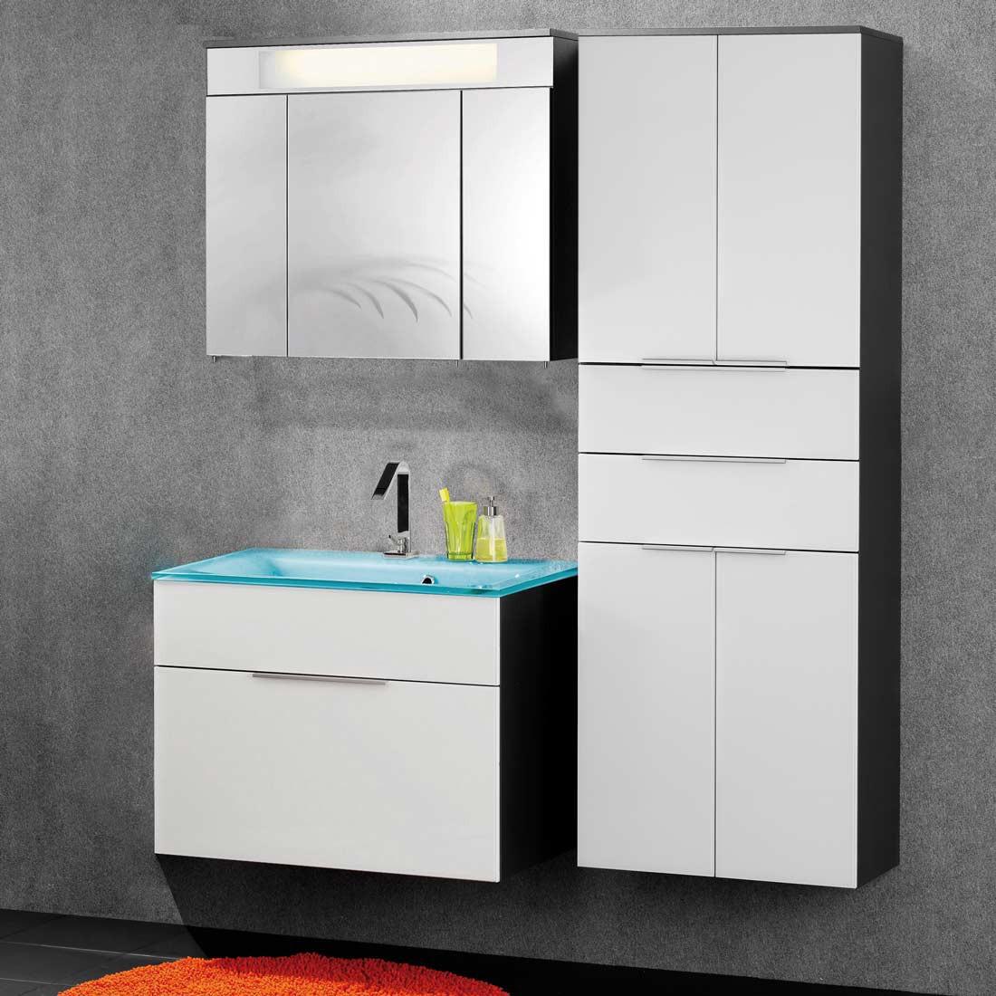 kara 2 badezimmerset wei anthrazit 3er set mit hochschrank. Black Bedroom Furniture Sets. Home Design Ideas