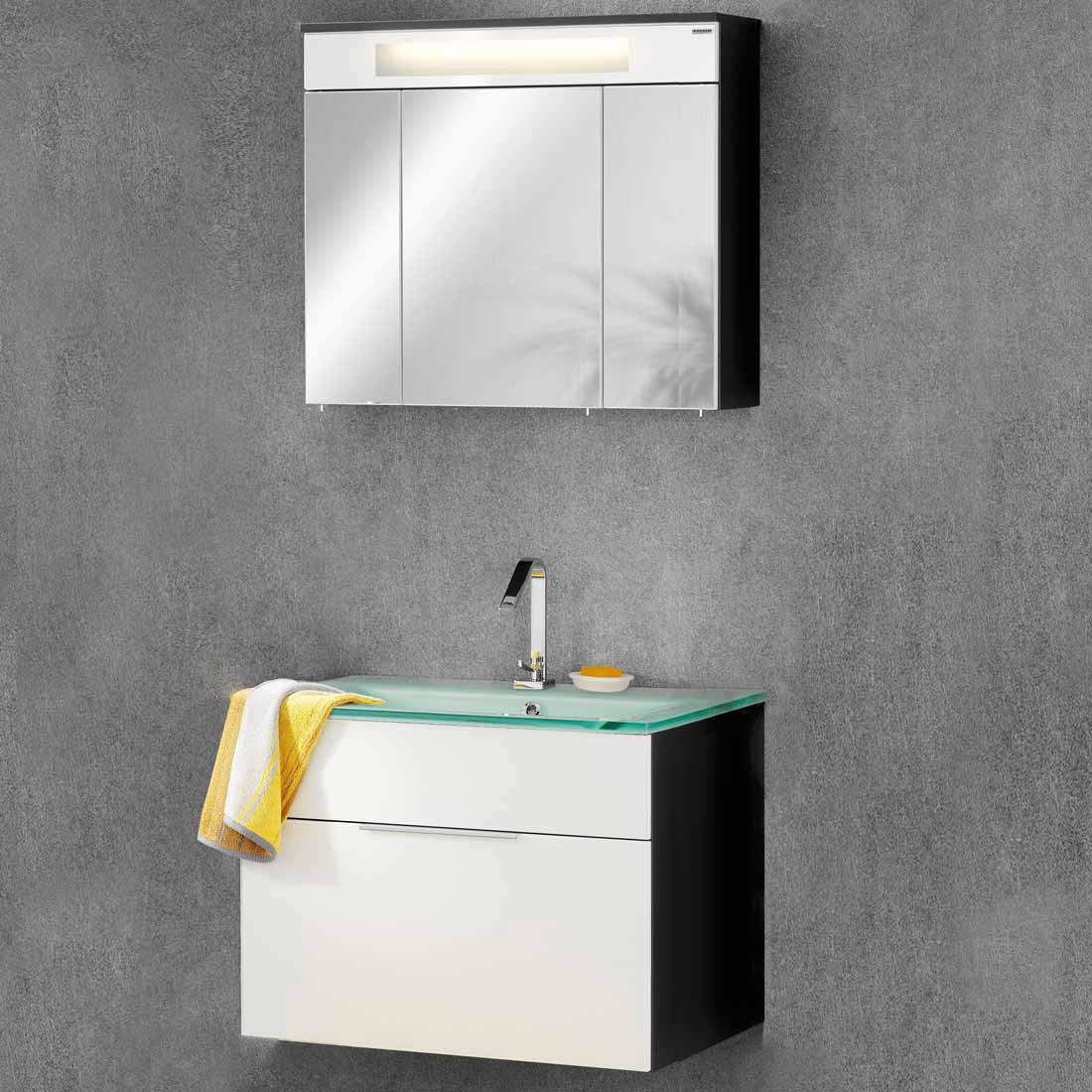 kara 2 waschplatz wei anthrazit mit 1 schublade. Black Bedroom Furniture Sets. Home Design Ideas