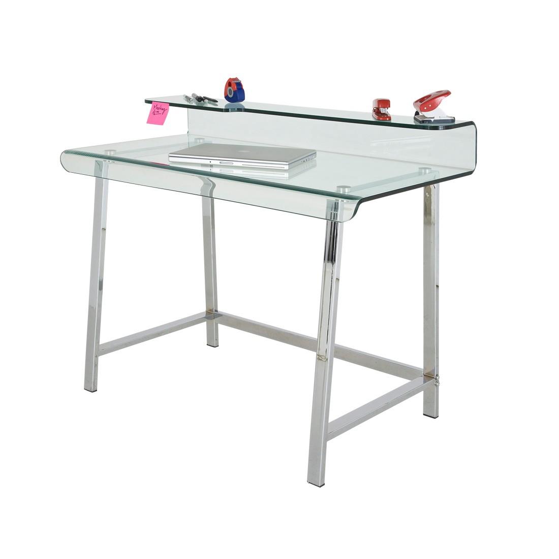 Schreibtisch Aero - Glasplatte auf Edelstahlgestell, Kare Design