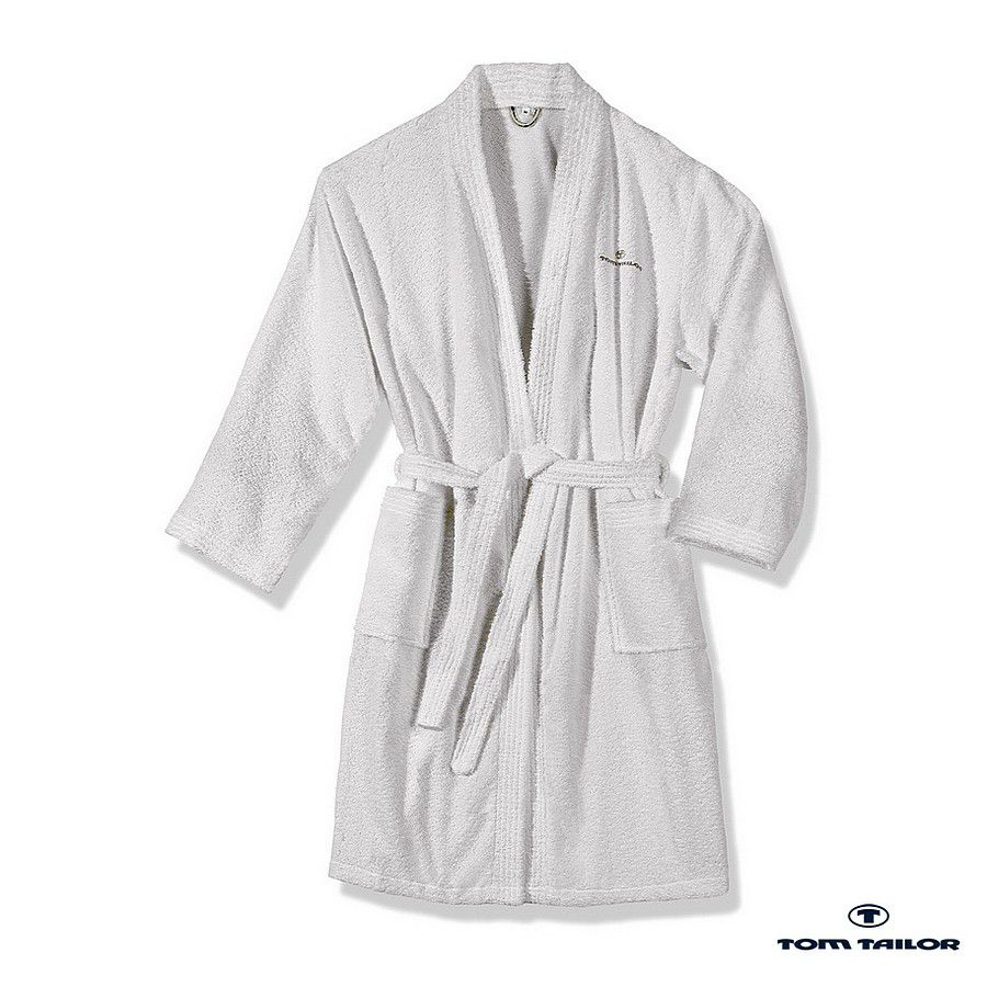 Frottier Kimono Bademantel – White – XL, Tom Tailor günstig