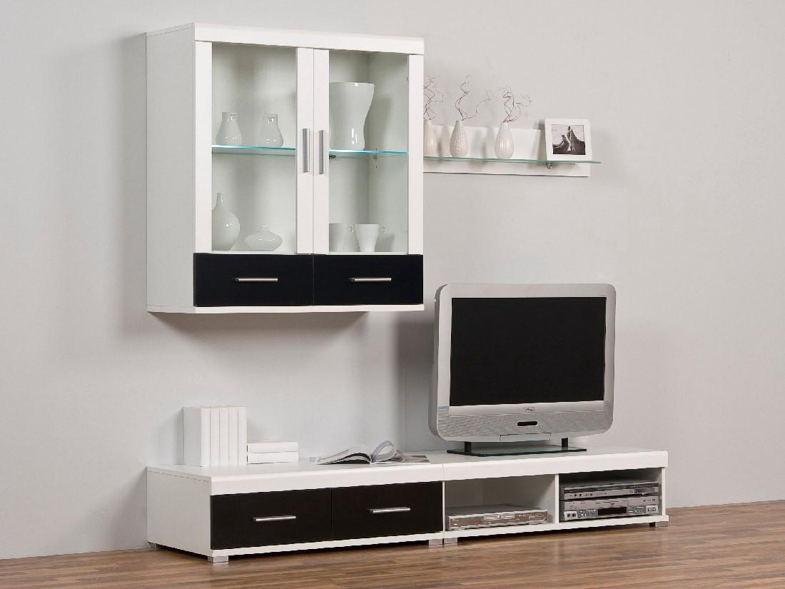 leo wohnwand klein schwarz wei mit beleuchtug. Black Bedroom Furniture Sets. Home Design Ideas