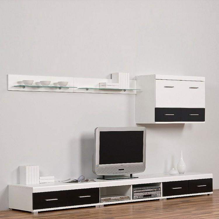 leo wohnwand schwarz wei mit beleuchtug. Black Bedroom Furniture Sets. Home Design Ideas