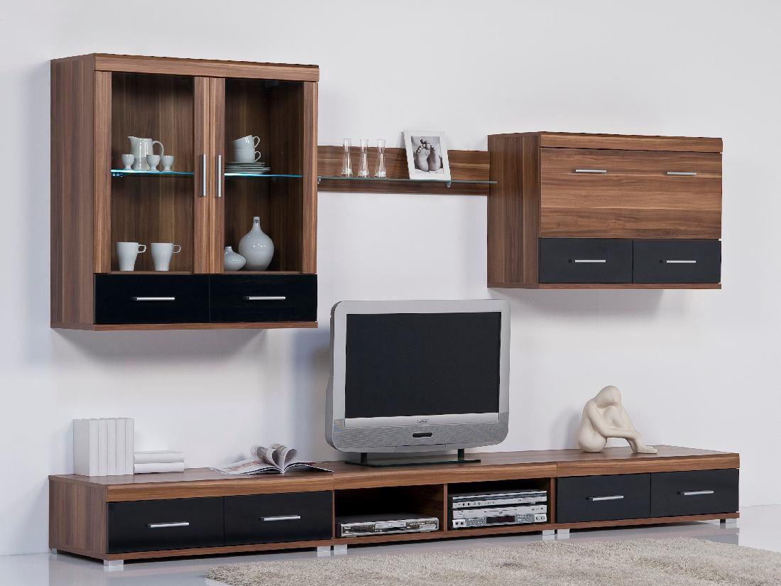 leo wohnwand schwarz walnuss ohne beleuchtung. Black Bedroom Furniture Sets. Home Design Ideas