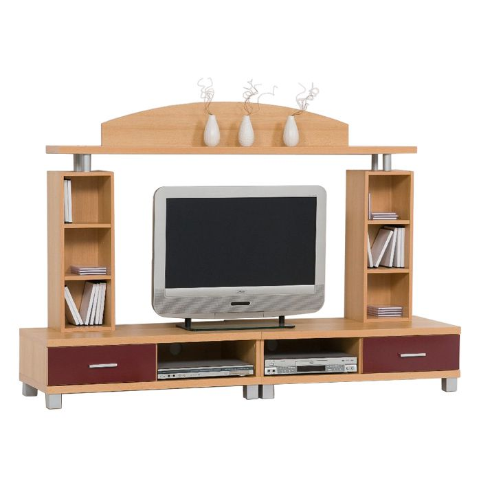 tv wand yoga massivholz sheesham natur. Black Bedroom Furniture Sets. Home Design Ideas