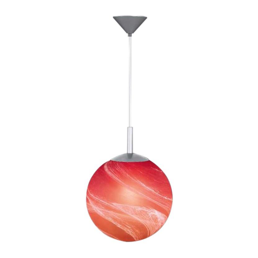 Pendelleuchte Kugel - Aluminiumfarbig - Orange-Rot, Honsel