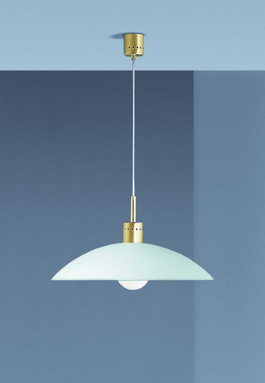EEK A+, Algona Pendelleuchten – Glas satiniert – Durchmesser: 46 cm – Aufhängung/Sockel: Messing matt, Böhmer Leuchten günstig bestellen