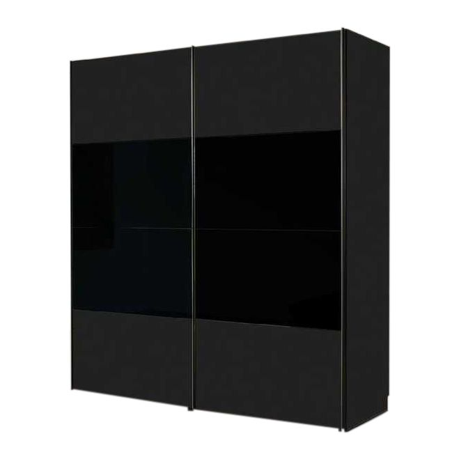 Schwebetürenschrank Laval – Schwarz/Schwarzglas – Schrankbreite: 200 cm – 2-türig, Solutions online bestellen