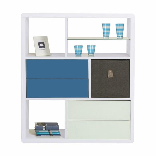 regal 1 hochglanz wei mit applikation in blau leonardo. Black Bedroom Furniture Sets. Home Design Ideas
