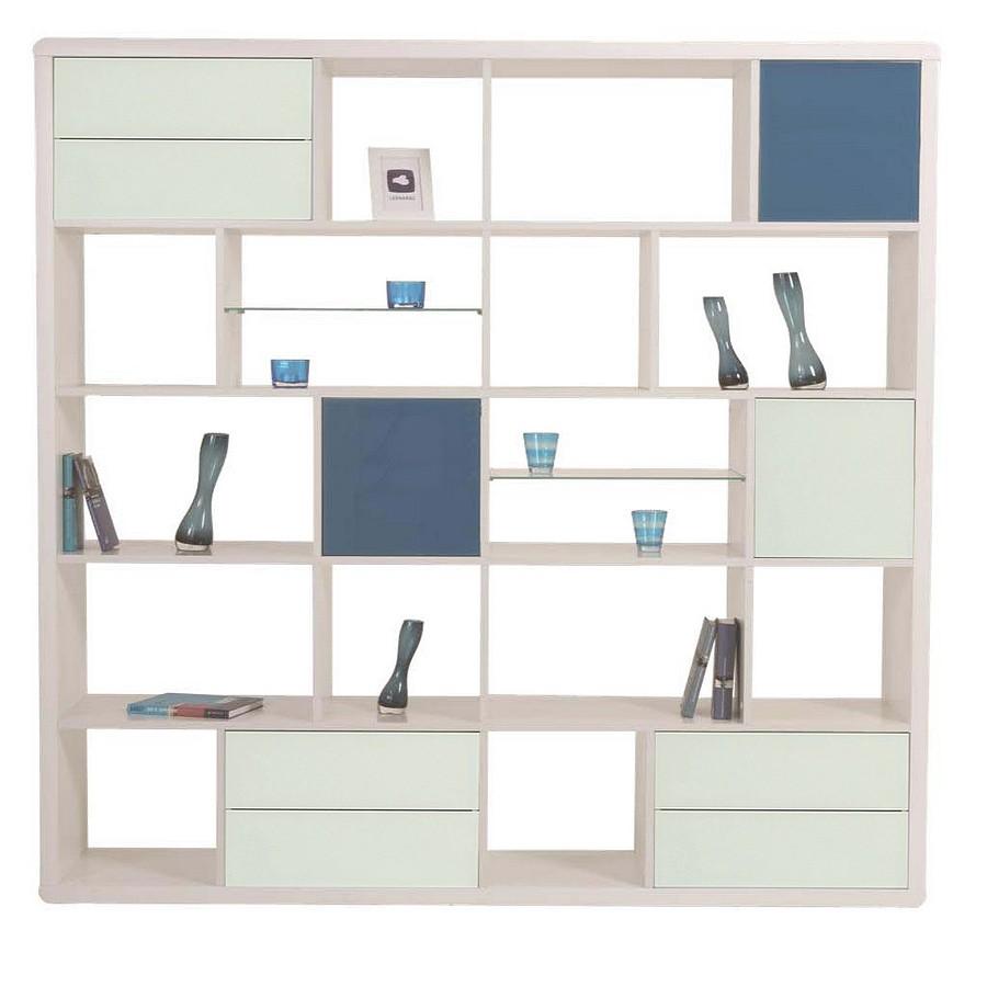 Bücherwand 1 – Hochglanz Weiß – mit Applikation in Blau, Leonardo online bestellen
