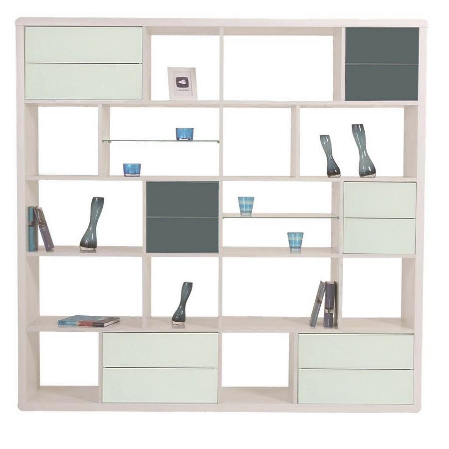 Bücherwand – Hochglanz Weiß – mit Applikation in Grau, Leonardo günstig