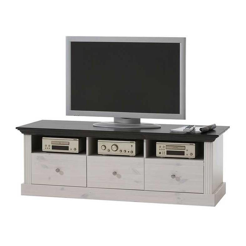 TV-Board Lyngby II - Kiefer massiv - Weiß
