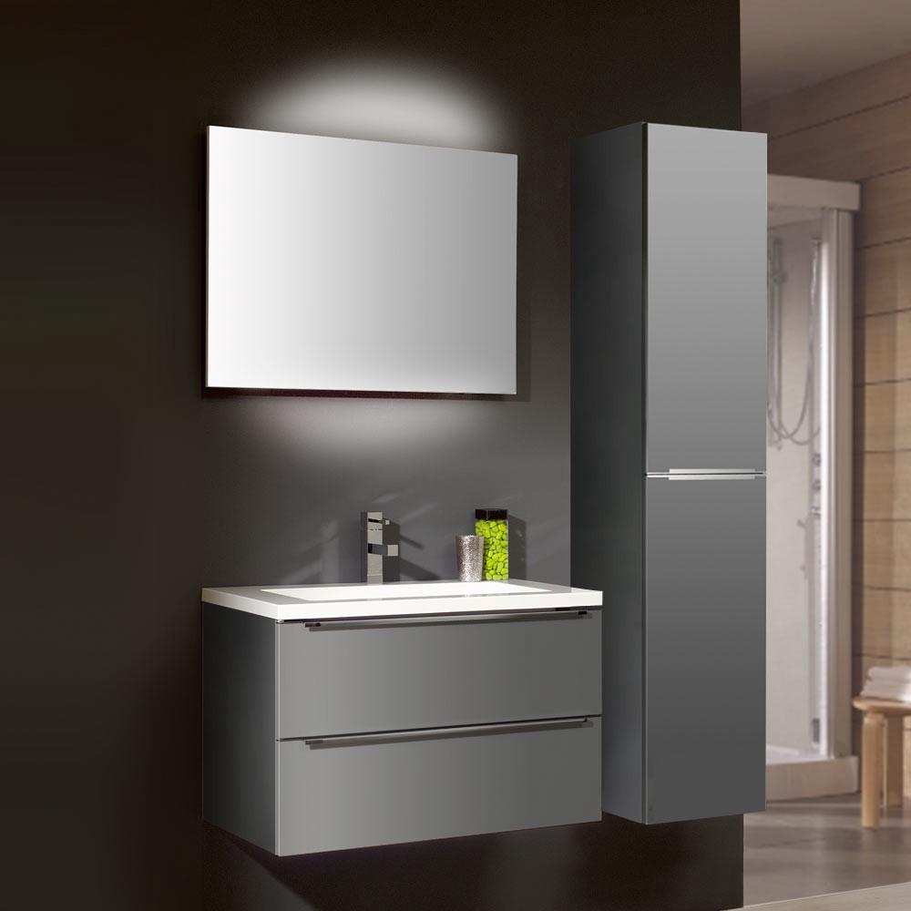 badezimmerset magic 2 3 teilig grau hochglanz mit mineralmarmor waschtisch. Black Bedroom Furniture Sets. Home Design Ideas