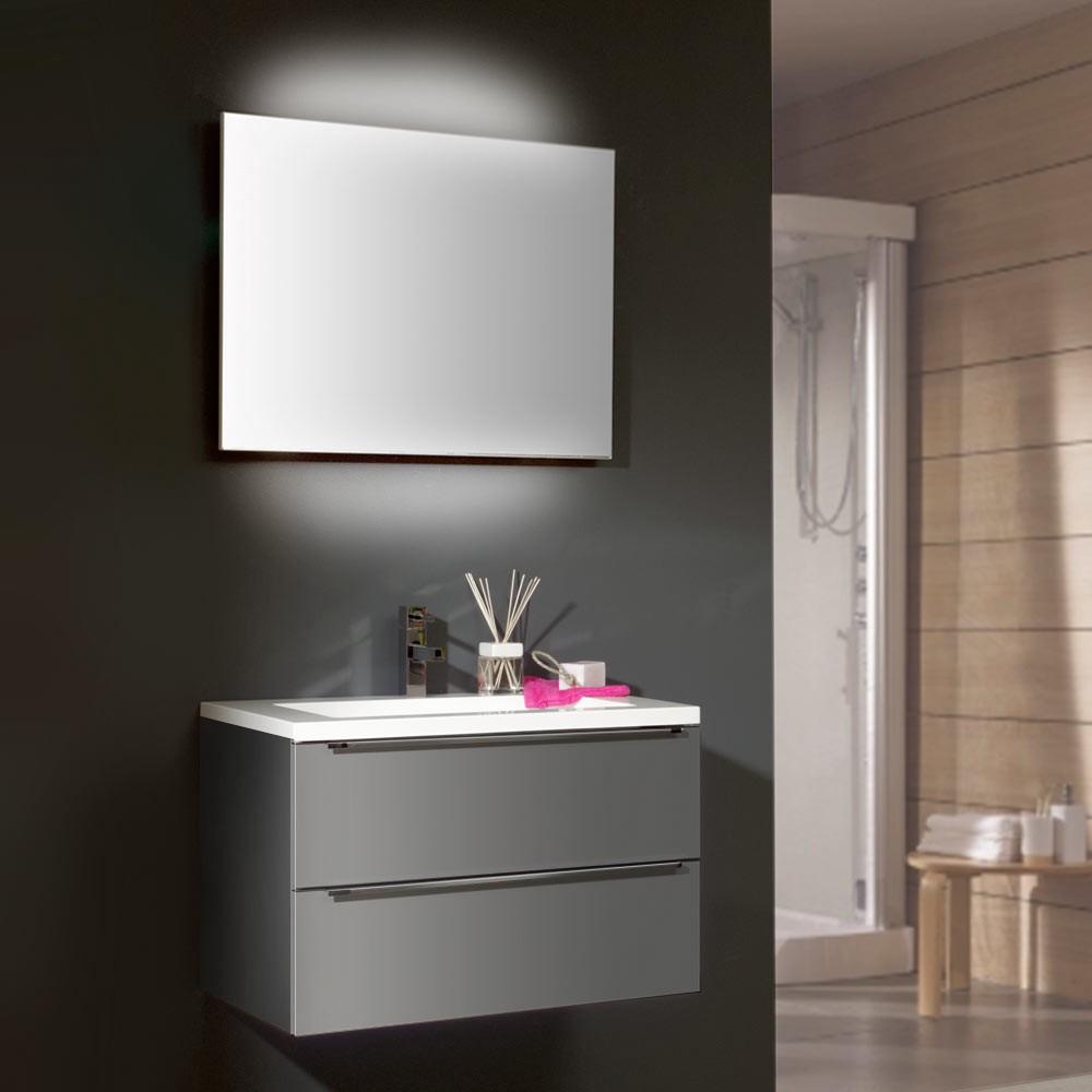 waschplatz magic 2 grau hochglanz mit keramik waschtisch. Black Bedroom Furniture Sets. Home Design Ideas