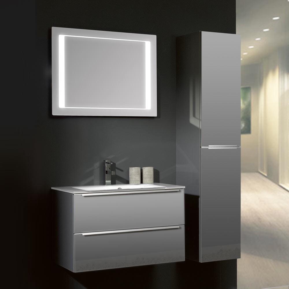 badezimmerset magic 21 3 teilig mit glasbecken grau hochglanz. Black Bedroom Furniture Sets. Home Design Ideas
