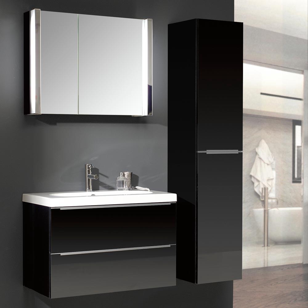 badezimmerset magic 27 3 teilig mit ovalem keramikbecken schwarz hochglanz. Black Bedroom Furniture Sets. Home Design Ideas