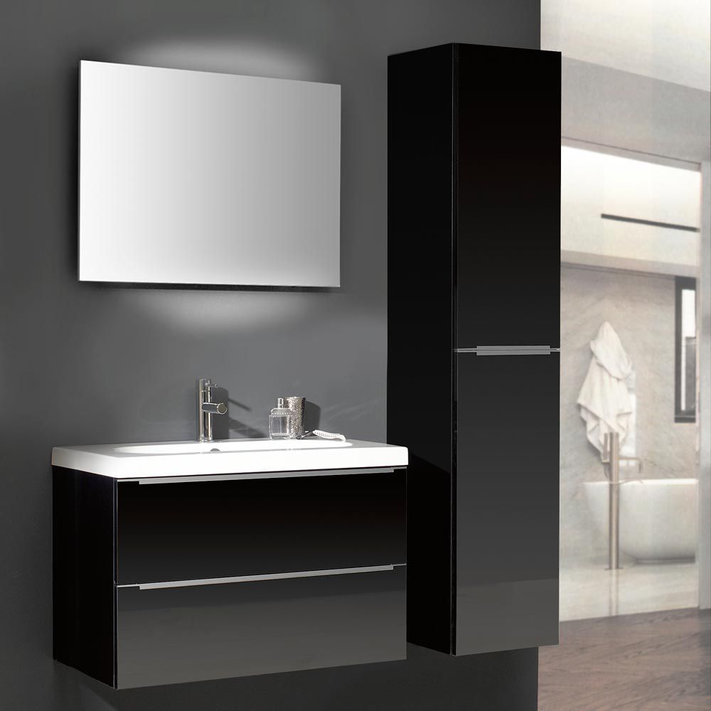 badezimmerset magic 3 3 teilig schwarz hochglanz mit keramik waschtisch. Black Bedroom Furniture Sets. Home Design Ideas