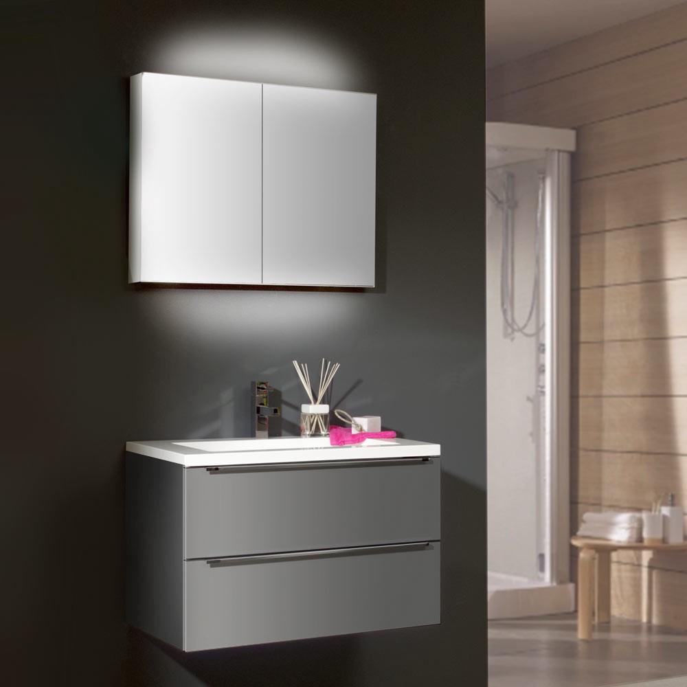 waschplatz magic 6 grau hochglanz mit mineralmarmor waschtisch. Black Bedroom Furniture Sets. Home Design Ideas