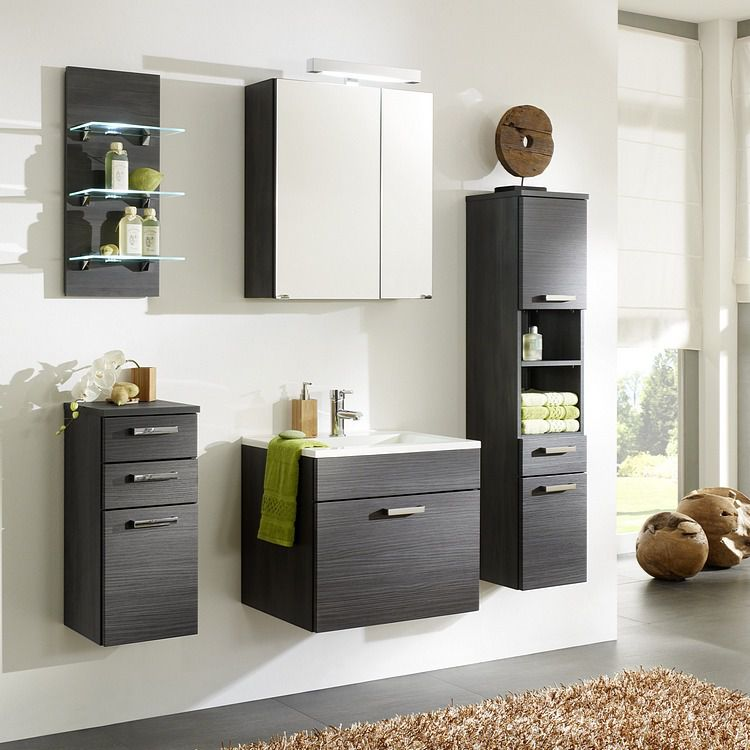 badezimmer set malaga 2 5 teilig anthrazit komplettset 5 tlg wandregal mit beleuchtung. Black Bedroom Furniture Sets. Home Design Ideas