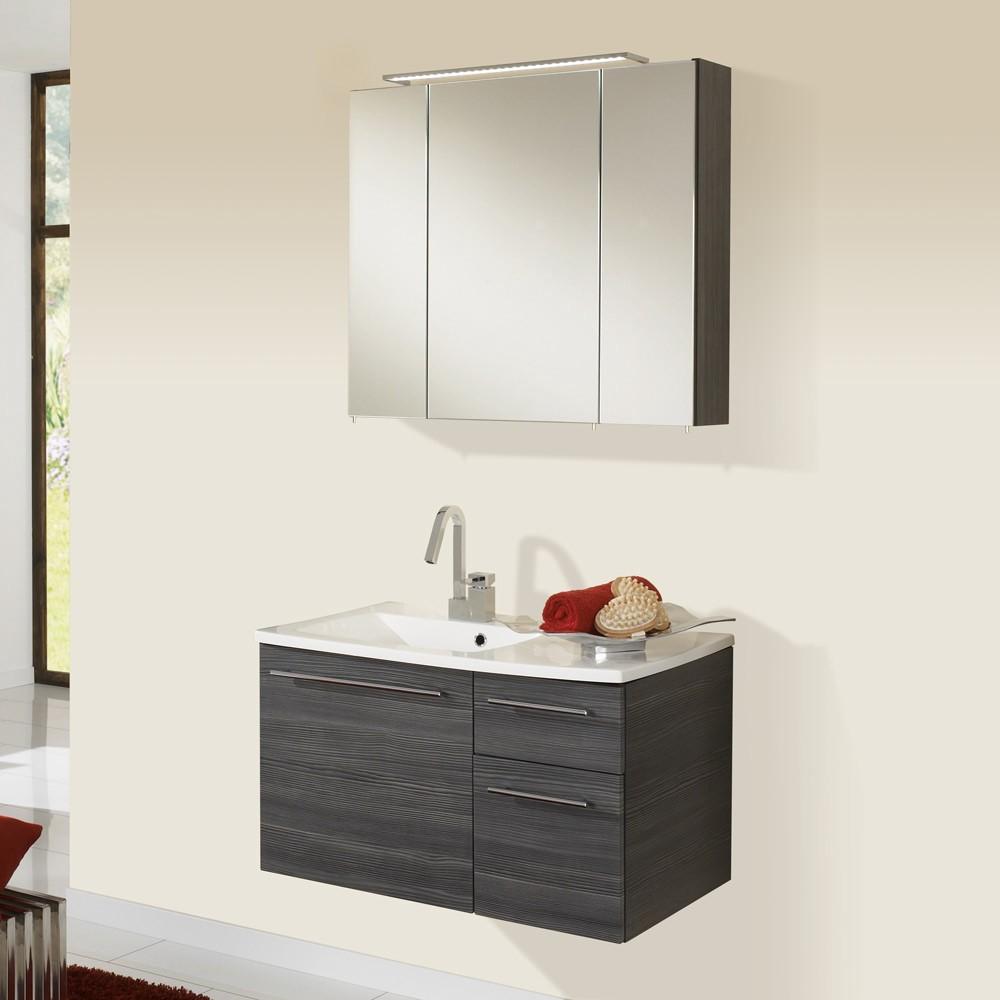 Waschplatz Markham - inklusive Spiegelschrank - Pinie-Anthrazit