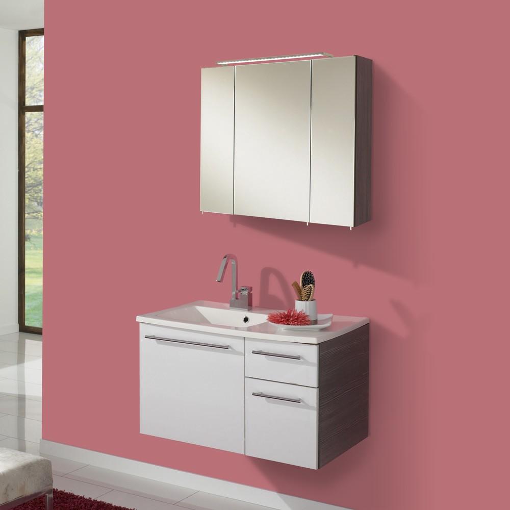 Waschplatz Markham - inklusive Spiegelschrank - Pinie-Anthrazit/Weiß Hochglanz