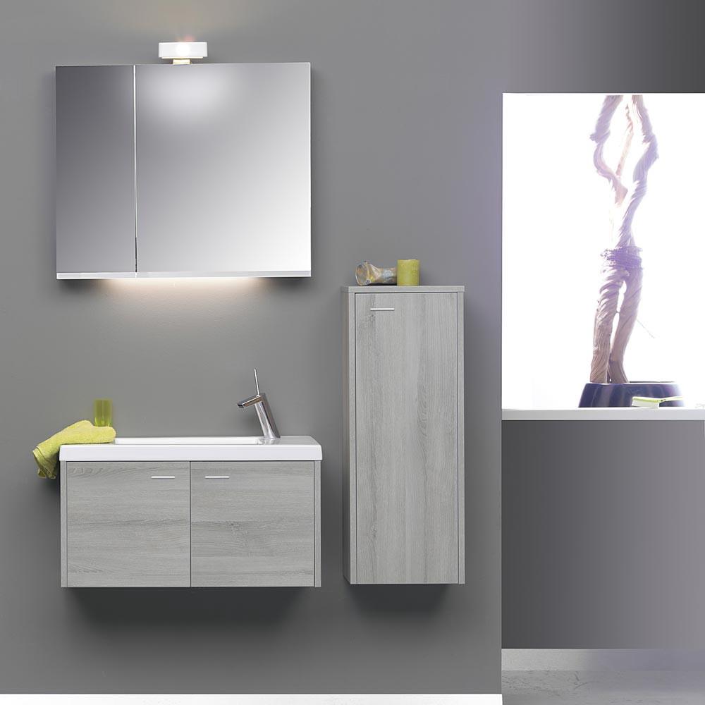 EEK E, Badezimmerset Micra 6 (3-teilig) – Esche Grau – mit Keramikbecken in Schwarz, Thebalux online kaufen
