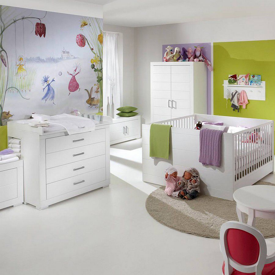 Sparset Mini 01(2-teilig) - Zwillingsbett & Wickelkommode - Weiß