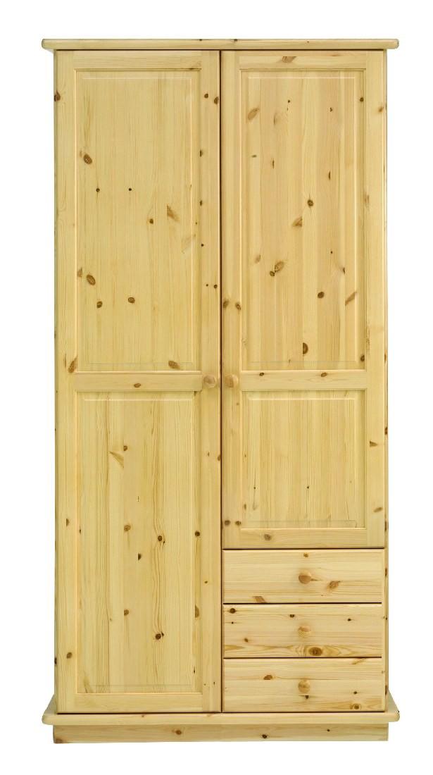 kleiderschrank rog 2 t rig und 3 schubk sten natur lackiert. Black Bedroom Furniture Sets. Home Design Ideas