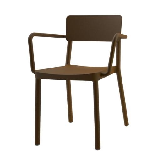 Armlehnenstuhl Lisboa (2er Set) – Kunststoff – Braun, Blanke Design günstig kaufen