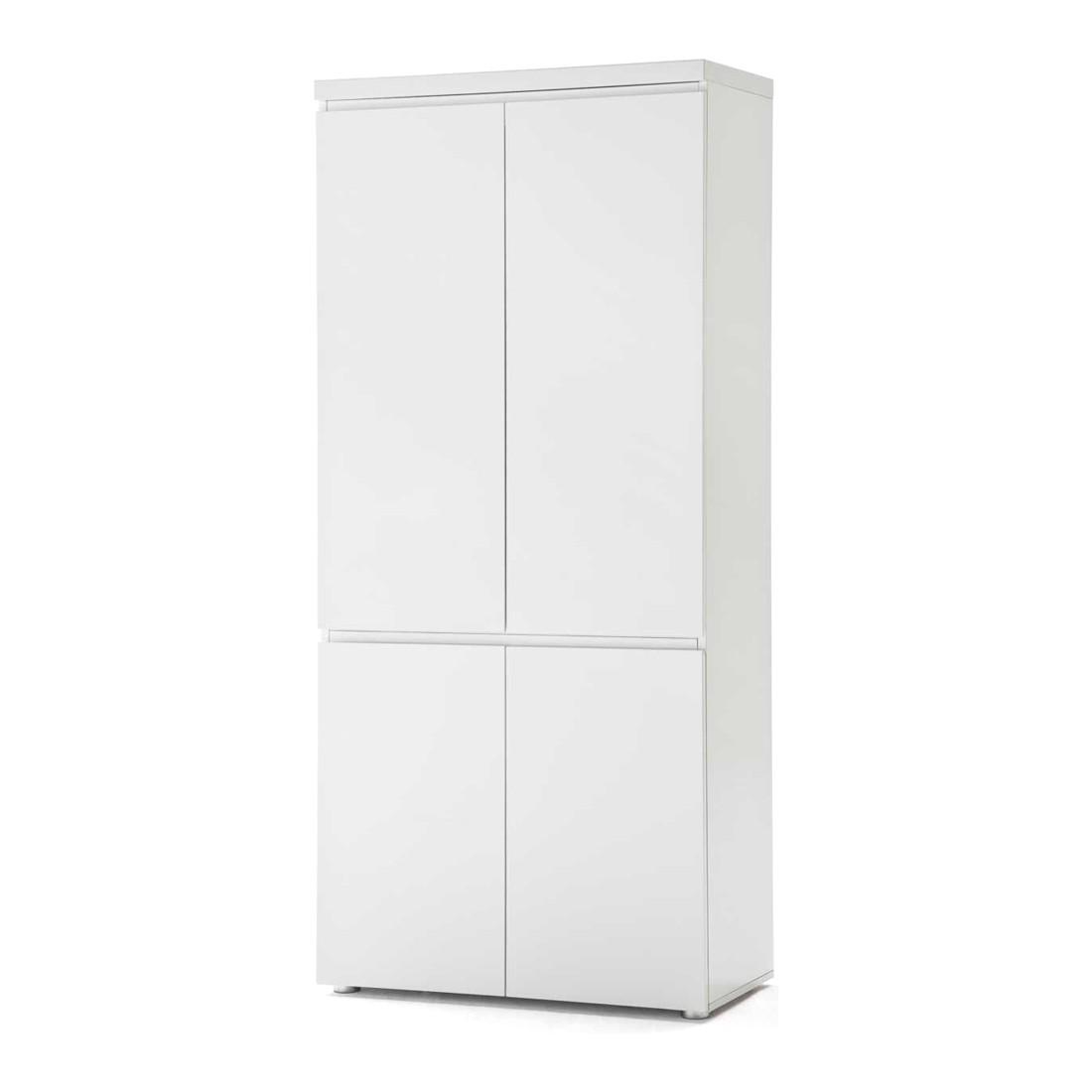 Aktenschrank Paddington - mit vier Türen - 5 Ordnerhöhen - Hochglanz Weiß lackiert