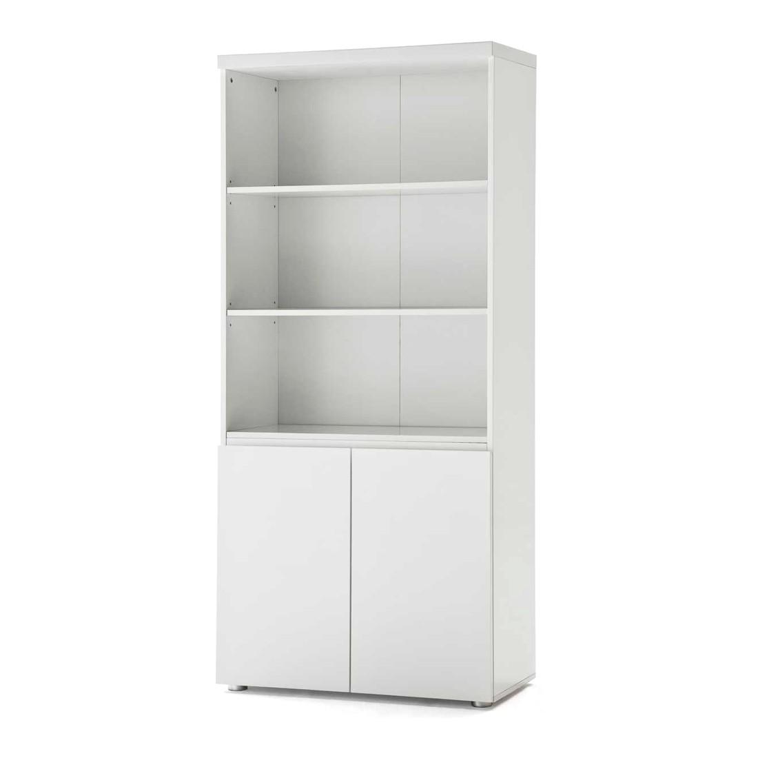Kombischrank Paddington - 5 Ordnerhöhen - Hochglanz Weiß lackiert - mit zwei Türen