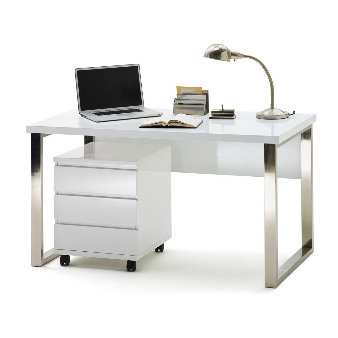Paddingtonset Schreibtisch (2-teilig) – Schreibtisch & Rollcontainer – Hochglanz Weiß, home24office jetzt kaufen