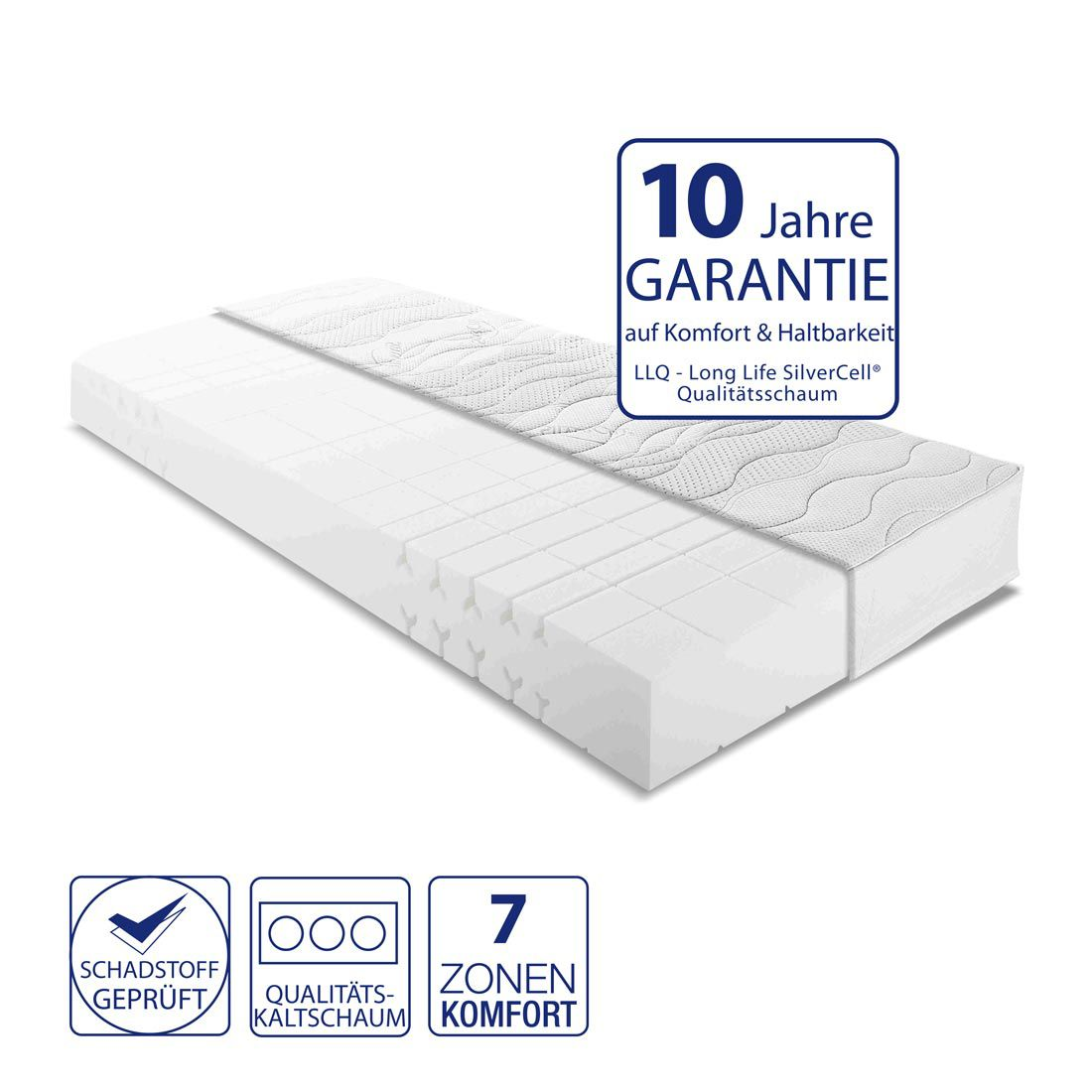 7-Zonen Kaltschaummatratze Pantea Silver – 140 x 200cm – H3 ab 80 kg, Nova Dream Sleepline günstig kaufen