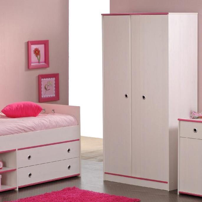 Sparset II Smoozy (2-teilig, Rosa oder Blau) - Kleiderschrank & Stauraum-Bett - Drehbare Kanten - Weiß lackiert, Parisot Meubles
