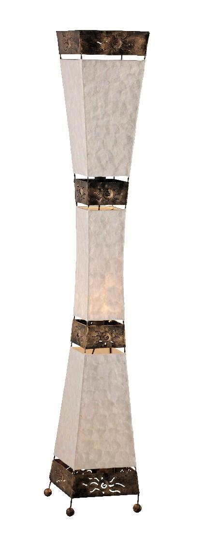 Stehleuchte Abuja ● 3-flammig- handgefertigt ● mit Schnurschalter- geschwungenes Design ● Kunststoff- Textil ● braun- creme weiß- Paul Neuhaus A++
