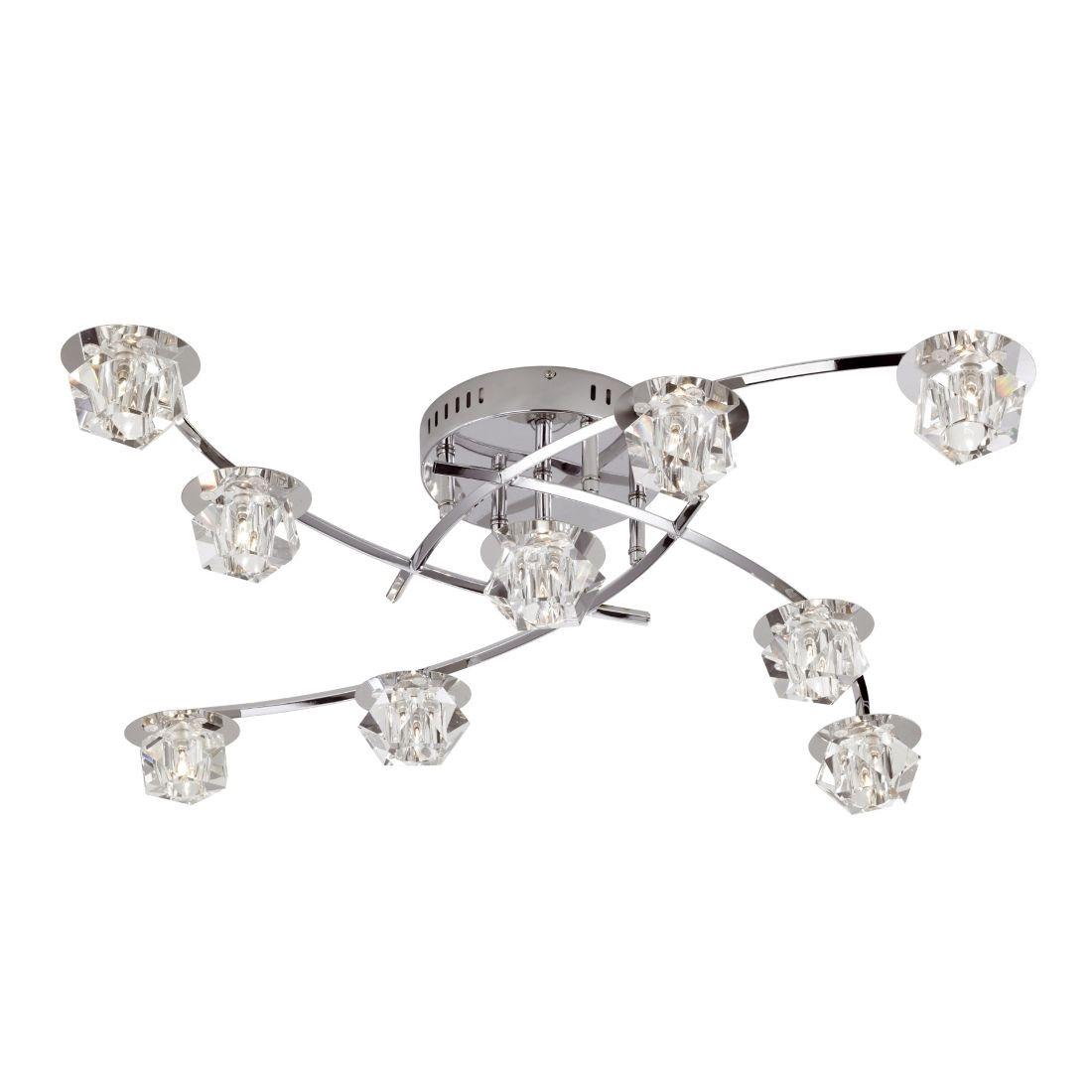 EEK B, Deckenleuchte Allegra – 9-flammig – LED, mit Fernbedienung – Metall, Glas – Chrom, weiß transparent, Paul Neuhaus günstig online kaufen