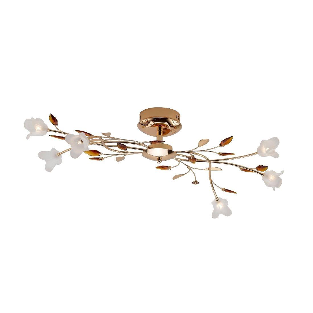 EEK B, Deckenleuchte Nevia – 6-flammig, florales Design – Metall, Glas – Gold, Weiß, Paul Neuhaus bestellen