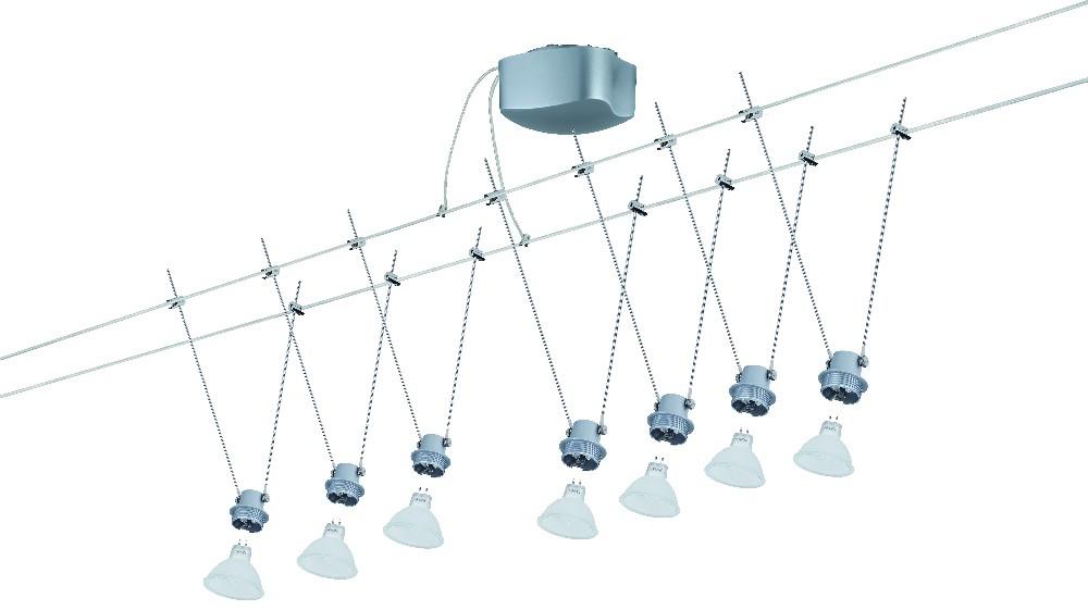 Seilsystem Wayne 2 – Chrom, matt – Glas/Opal/Braun, Paulmann günstig online kaufen