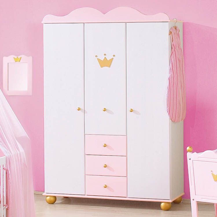 kleiderschrank prinzessin karolin fichte massiv wei. Black Bedroom Furniture Sets. Home Design Ideas