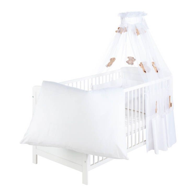 Babybettset Schmusebär (4-teilig) – Bettwäsche, Nestchen & Himmel – 100% Baumwolle – Weiß mit Applikation, Pinolino jetzt bestellen