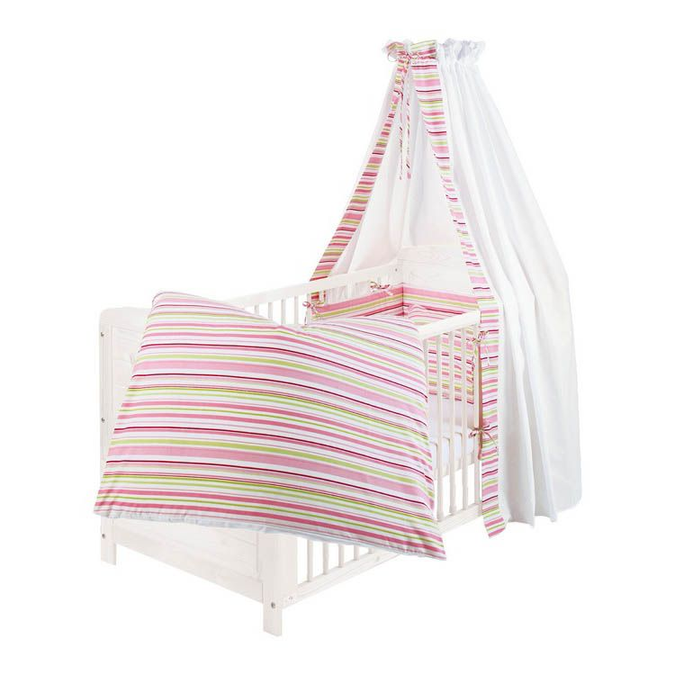 Babybettset Streifen (4-teilig) – Bettwäsche, Nestchen & Himmel – 100% Baumwolle – Rosa/Grün, Pinolino kaufen