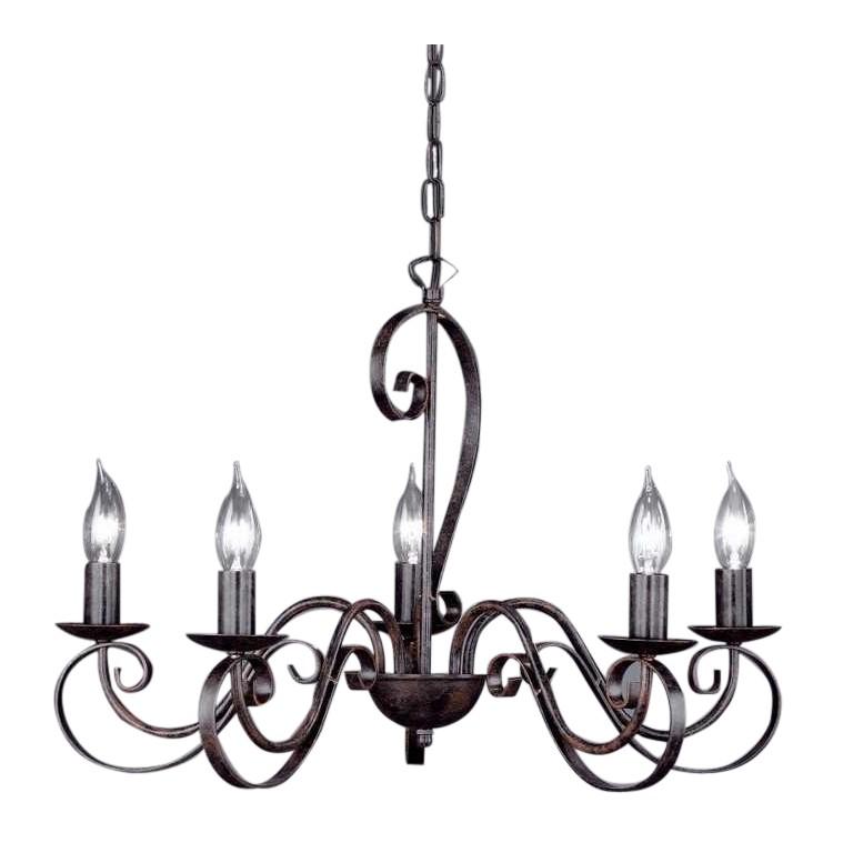 kronleuchter pisa uno 5 5 flammig stahl rostfarbig honsel. Black Bedroom Furniture Sets. Home Design Ideas
