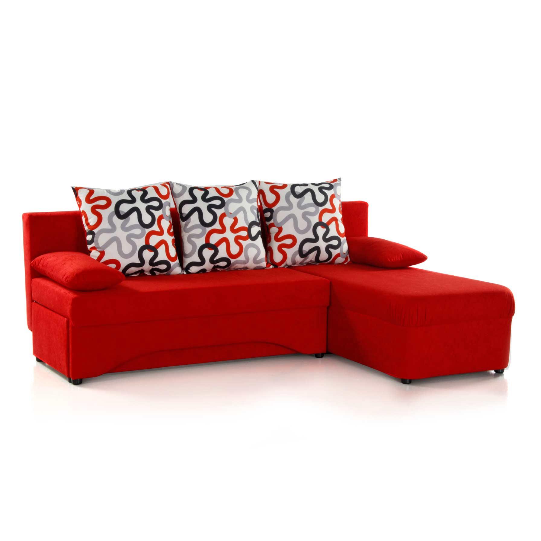 Pula Ecksofa - Microfaser Rot -, Home Design