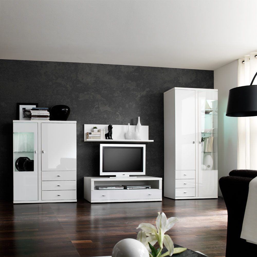 wohnwand puna 4 teilig hochglanz wei. Black Bedroom Furniture Sets. Home Design Ideas