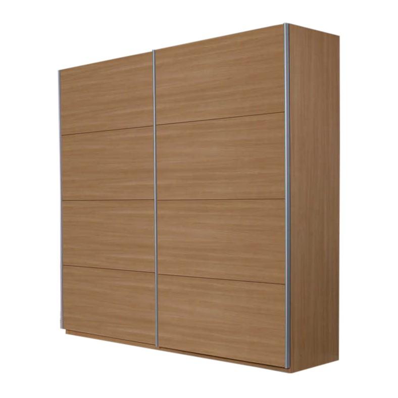 Schuifdeurkast Quadra II - Beukenhouten look - 181 cm (2-deurs) - 210 cm, Rauch